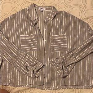 Crop button down shirt